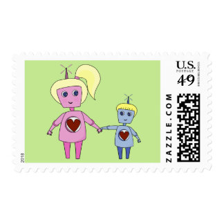Cute Robot Big Sister and Little Brother Postage