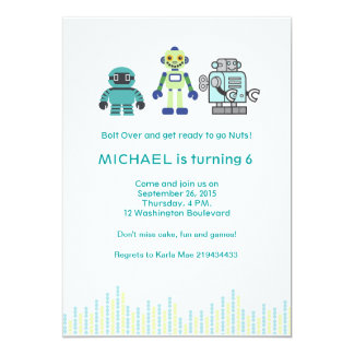 Cute Robot Birthday Party 5x7 Paper Invitation Card