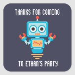 cute robot birthday party thank you square sticker