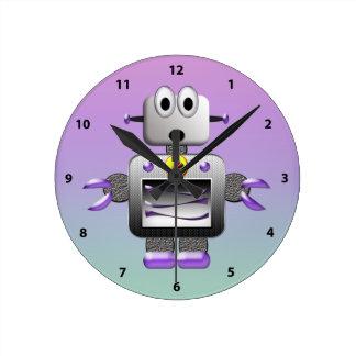 Cute Robot Blue & Purple Clock