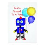 Cute Robot  Boys Birthday Party Invitations