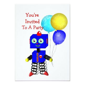 "Cute Robot  Boys Birthday Party Invitations 5"" X 7"" Invitation Card"