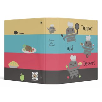 cute robot chef cooking baking recipe binder binder