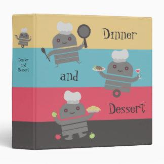 cute robot chef cooking baking recipe binder