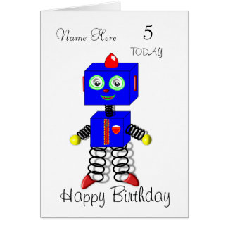 Cute Robot Child's Personalised Birthday Card