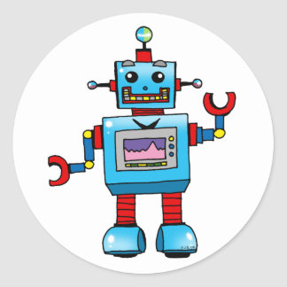 Cute robot classic round sticker