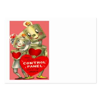 Cute Robot Couple Light Heart Valentine Large Business Card