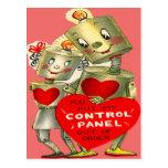 Cute Robot Couple Light Heart Valentine Post Card
