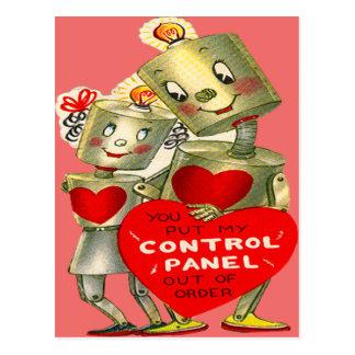 Cute Robot Couple Light Heart Valentine Postcard
