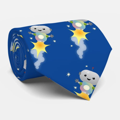 Cute robot flying in space cartoon illustration neck tie