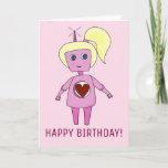 Cute Robot Girl Happy Birthday Pink Geek Card