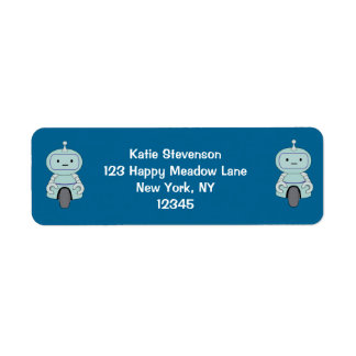 Cute Robot Illustration Custom Return Address Labels