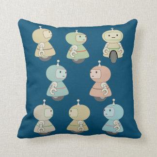Cute Robot Pattern Throw Pillow