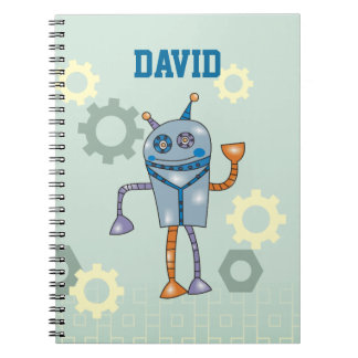 Cute Robot Personalized Name Boys Notebook