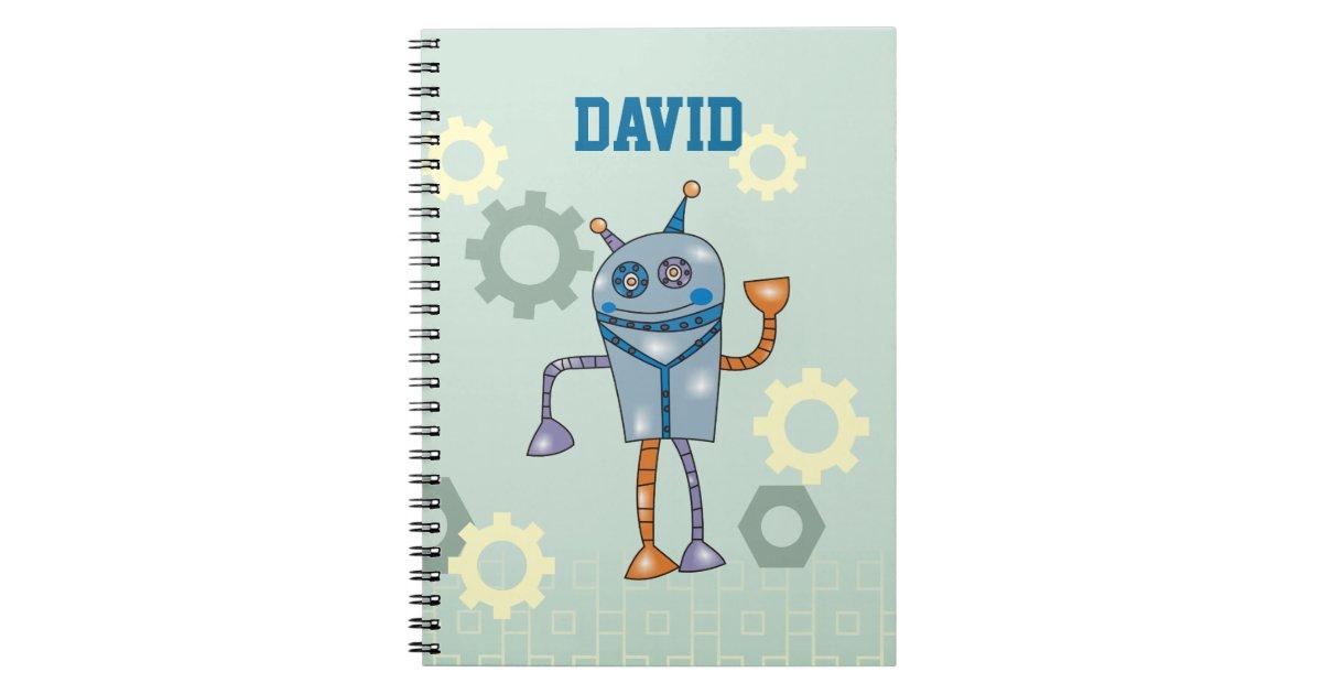 Cute Robot Personalized Name Boys Notebook Zazzle Com