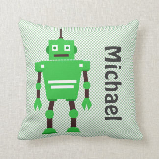 Cute Robot Pillow, Green, White, Black Throw Pillow