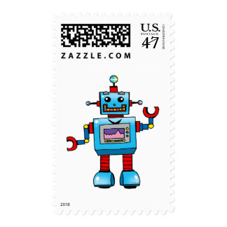 Cute robot postage stamp
