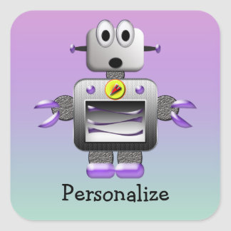 Cute Robot Purple & Blue Personalized Stickers