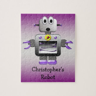 Cute Robot Purple & Silver Personalized Puzzle