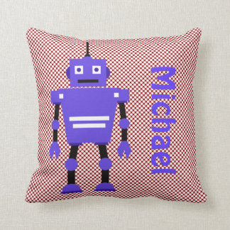 Cute Robot, Red White Blue, Add Name Throw Pillow
