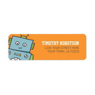 Cute Robot Return Address Labels