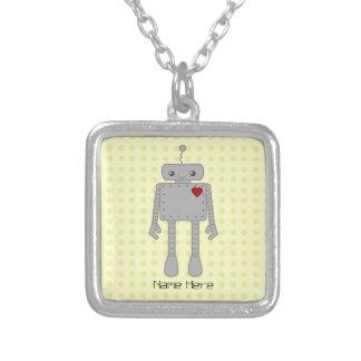Cute Robot Square Pendant Necklace
