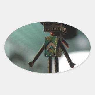Cute Robot Oval Sticker