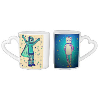 Cute Robot Sweethearts Mugs