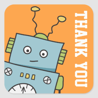 Cute Robot Thank You Stickers Square Sticker
