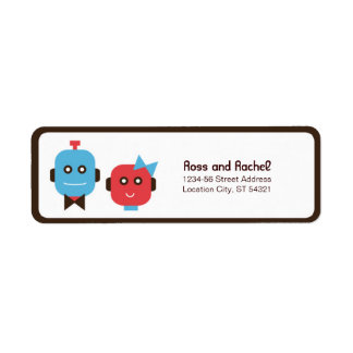 Cute Robot Theme Wedding Label