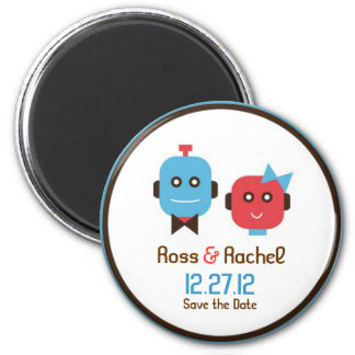 Cute Robot Theme Wedding Save the Date Magnet