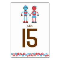 Cute Robot Theme Wedding Table Number Card
