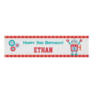 Cute Robot Toy Birthday Party Banner Poster