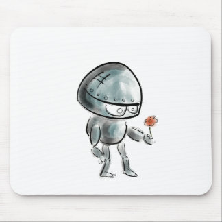Cute Robot with a flower Mouse Pad