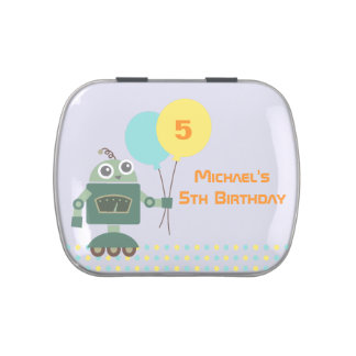Cute Robot with Balloon Birthday Party Favors Candy Tins