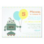 Cute Robot with Balloon Birthday Party Invitations