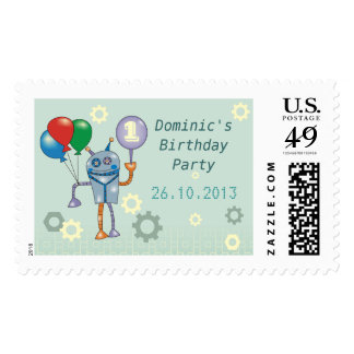 Cute Robot with Balloons Custom Postage Stamps