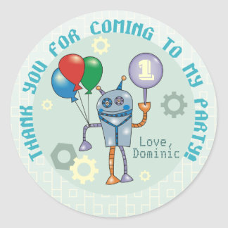 Cute Robot with Balloons First Birthday Stickers