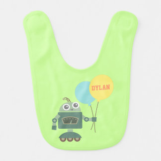 Cute Robot with Balloons For Babies Bib