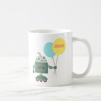 Cute Robot with Balloons for kids Classic White Coffee Mug