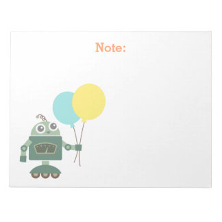 Cute Robot with Balloons for kids Notepad
