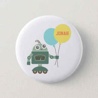 Cute Robot with Balloons for kids Pinback Button