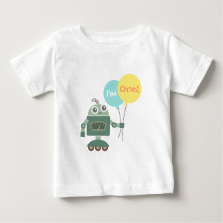 Cute Robot with Balloons, I am One Baby T-Shirt