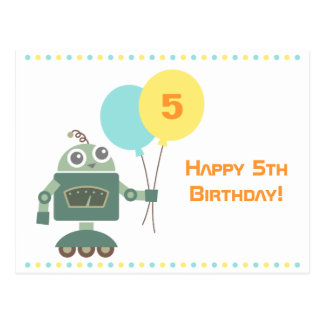 Cute Robot with Balloons, Kids Happy Birthday Postcard