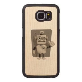 Cute Robot Wood Phone Case