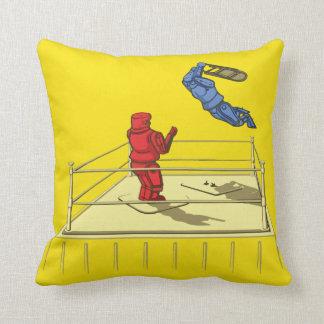 Cute Robot Wrestling Cartoon Throw Pillow