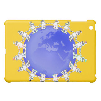 Cute Robots Holding Hands Around Earth iPad Mini Cover
