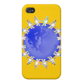Cute Robots Holding Hands Around Earth iPhone 4 Cover