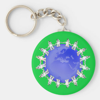 Cute Robots Holding Hands Around Earth Basic Round Button Keychain