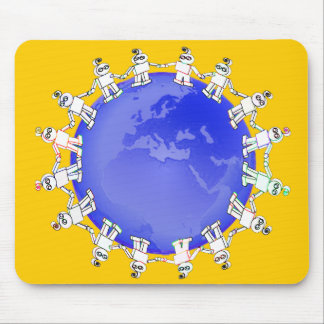 Cute Robots Holding Hands Around Earth Mouse Pad